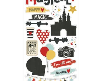 Simple Stories Say Cheese III Collection Scrapbook Disney Chipboard Stickers