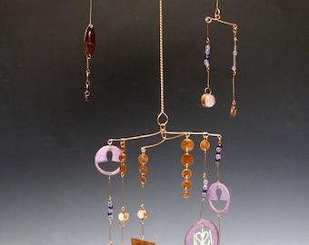 Copper and Rose Quartz Mobile