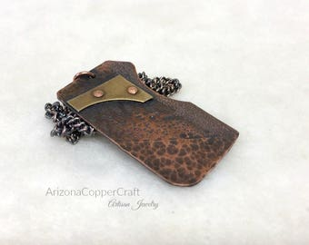 Brass & Copper Textured Pendant, Copper Jewelry, Riveted Jewelry, Ready To Ship, Most Sold Item, One Of A Kind Pendant, ArizonaCopperCraft