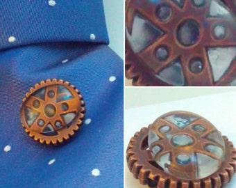 Steampunk, Tie tack, dapper gent, steampunk pin, steampunk tie tack, lapel pin, steampunk lapel pin, handmade steampunk, pin, steampunk #1