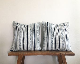 "20"" by 20"" Set of 2 Vintage Hmong Hill Tribe Ethnic Indigo Batik Thai Cushion Covers"