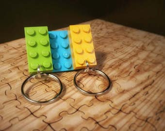 LEGO® key hook with 2 LEGO® brick keychains