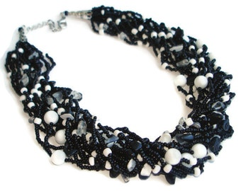 Black and white statement necklace custom handmade jewelry on etsy Black bead necklace chunky Grandmother jewelry gifts