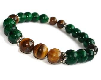 Mens bracelets for men birthday gift for him anniversary gifts for men Green bracelet men Tiger eye bracelet for male Protection talisman