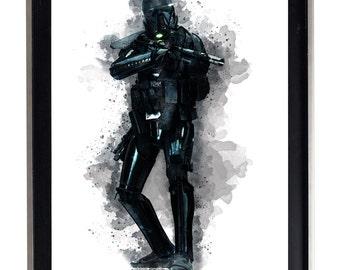 Watercolor Deathtrooper Print Matte Print Poster Splatter