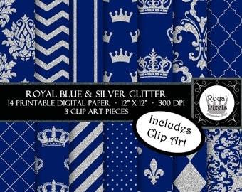14 Royal Blue & Silver Glitter Digital Paper - Printable or Digital Scrapbook Paper - Royal Baby Shower - Royal Prince - Wedding #94