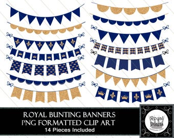 Royal Blue & Gold Bunting Banners - Clip Art - 14 Pieces Included - PNG Files #102