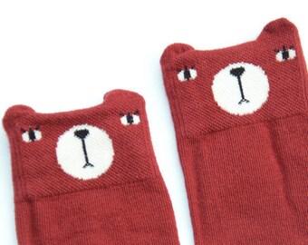 Red Bear Knee High Socks - MiniDressing