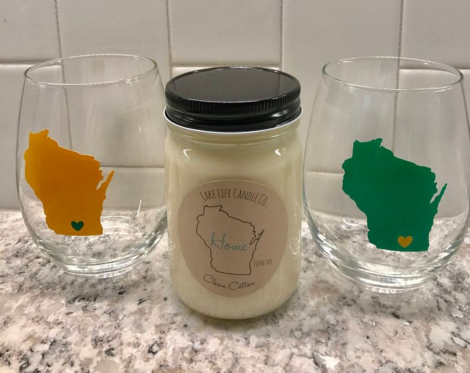 Custom Handmade Stemless Wineglasses and Soy Candle WI Gift Set, green and yellow. Lake Life Candle Co.™