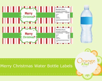 Merry Christmas Water Bottle Stickers, Christmas Party Favor Decor, Christmas Waterproof Labels, Water Bottle Labels, Christmas Stickers