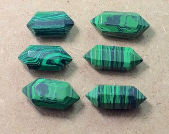 6 Pieces Malachite Crystals Double Terminated size=====25x14x11mm to 30x13x10mm