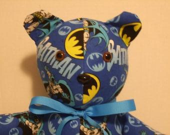 Batman Bear, Batman Teddy Bear, Batman Toy, Super Hero Bear, Boys Gift, Boys room decor, Stuffed Bear , Teddy bear, Free Shipping, Toy Bear