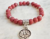 Rhodonite Bracelet with Lotus Flower Charm - Mala Beads Spiritual Yoga Jewellery Boho Gipsy Ethnic Valentine's Day Mother's Day Gift For Her