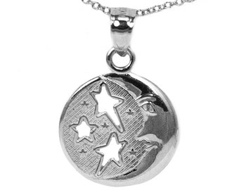 925 Sterling Silver Dainty Round Moon and Stars Pendant Necklace