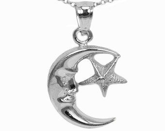 10k White Gold Moon and Star Necklace