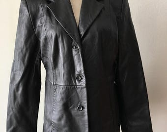 Black women's jacket, made from real leather, really soft leather, mid height, classical style, jacket for lady's, vintage, size-small.