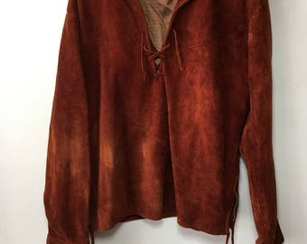 Steep Long Vintage Brown Genuine Strong Suede Bomber Men's Size Large.