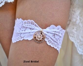 White Wedding Garter, Rhinestone Garter, Lace Garte Set, Bridal Garter, Rhinestone Bridal, Ivory Bridal Garter, Handmade Garter, Toss Garter