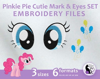 My Little Pony - Pinkie Pie Cutie Mark & Eyes SET - Embroidery Machine Design