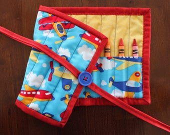 Plane Crayon Holder, Crayon Roll, Airplane Themed, Crayon Tote, Crayon Roll Up, Blue Yellow Red, Art Supply, Craft, Toy, Quilted, Preschool