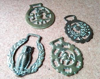 4 Vintage Horse Brass
