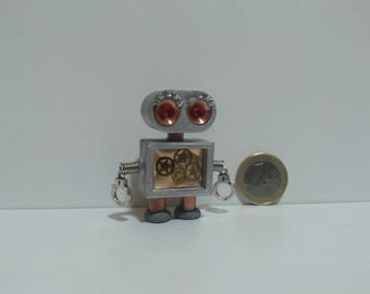 Tiny handcrafted robot robot toy robot sculpture  robot art steampunk robot  robot plush