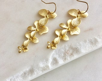 Cascading Gold Orchid Earring Orchid Bridesmaid Gift Bridesmaid Earring Wedding Earring Bridal Earring Flower Earring Floral Earring