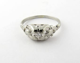 Vintage 18K White Gold Diamond Ring Size 7.75 #985