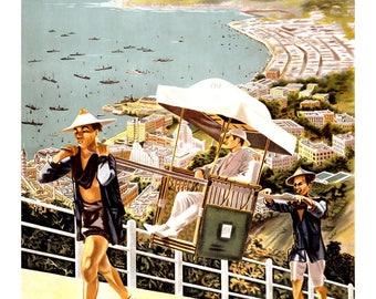 Vintage See Hong Kong Riviera Travel Poster Print