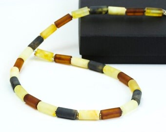 Mens Necklace. Handmade Baltic Amber Necklace. Matt Multicolor Beads Necklace. Mens Jewelry. Amber Necklace for Him.