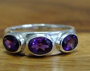 Amethyst Silver ring , ring size T