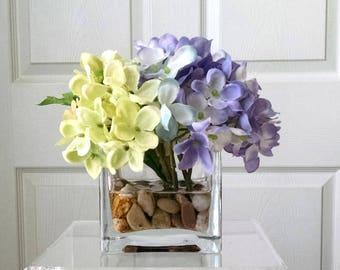 PurpleSILK Floral Arrangement-Flower Arrangement-Silk flowers-Purple hydrangeas  Silk faux arrangement -Fake flowers-Green/Purple flowers