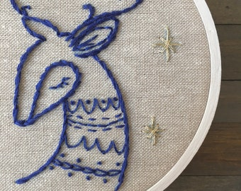 Blue Woodland Deer Hand Embroidery. Christmas Decoration. Holiday Embroidery. Hoop Art. Wall Art. Mantle Decor. Decor under 50