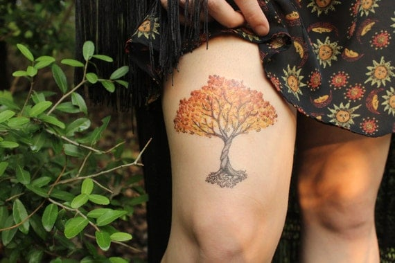 Autumn Tree Temporary Tattoo, Fall Colors, Spiral Tree With Wound Up Roots, Nature Tattoo