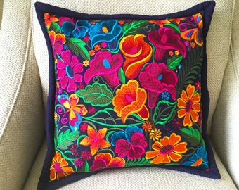 Mexican Embroidered Throw Pillow Case 18 x 18 inches