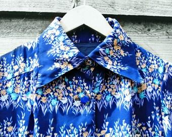 Vintage Dress - Knee Length - 1970's - Blue - Floral Dress - Summer Dress - Summer Vintage