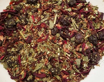 Ariel - Lightly Sweet, Herbal Tea Blend, Loose Leaf tea, Kid Friendly, Caffeine-Free, Rooibos, Honeybush, Hibiscus, Blueberry, Blackberry