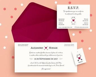 Kit Wedding Template Flechazo. Wedding Invitation Set, Instant Download, DIY Printable File, Editable Text. Wedding invitations. Digital PDF