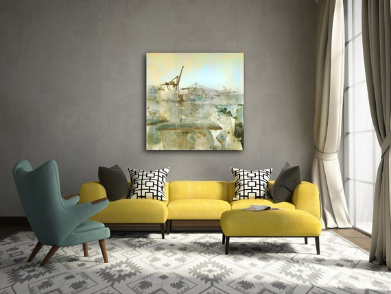Celadon, limited edition, urban art, industrial art,painting, aqua, loft art, wall decor, seaport, blue, photoart, seattle port, mixed media