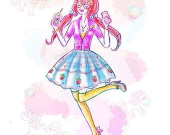 Unicorn Girl Printable, frappuccino, unicorn printable, unicorn decor, girls room wall decor, unicorn art, pastel unicorn girl, pastel art