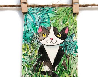 Small Cat Gift - Black and White Cat-  Artist Trading Card - Tiny Cat Art - Funny Cat Painting - ATC Original - ACEO Original -  Tuxedo Cat