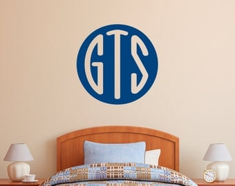 Monogram Oval Custom Vinyl Wall Decal Monogrammed Initials, Letters,  Bedroom, Nursery Wall Decal