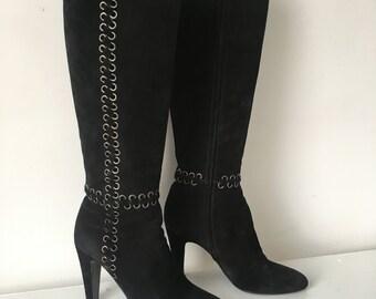 Prada Black Suede Knee High Boots Size 38.5