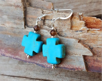 Turquoise Cross Magnesite Gemstone and Sterling Silver Earrings, Turquoise Cross and Swarovski Crystal Earrings, Tourquoise Cross Earrings