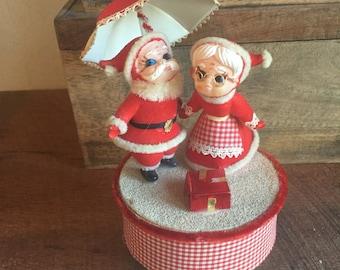 Mr and Mrs Clause Music Box Vintage Retro - santa music go round - mid century music box- musical - japan minature blow mold 1960s