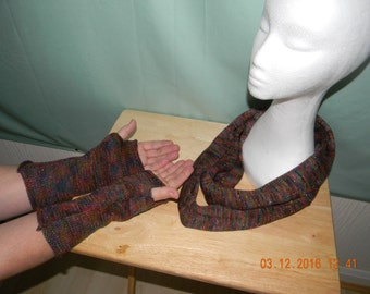 Handmade knitted scarf and fingerless glove set.