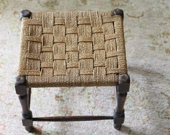 RESERVED FOR LEA - Antique Oak Foot Stool With Woven Seat