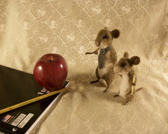 Needle Felted Mice, Felted Brown Mouse, Father Son Mice