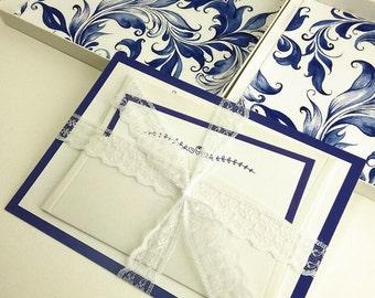 Blue Color Boxed Wedding Invitations, Color Wedding Invitations, Couture Invitations, Box Wedding Invitations, Blue Color, 1 INVITATION