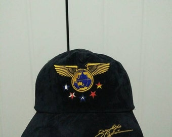 Rare Vintage World Map Wings With Five Star and Signature Embroidered Cap Hat Free size fit all